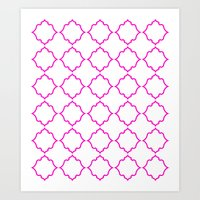 Moroccan White And Magen… Art Print