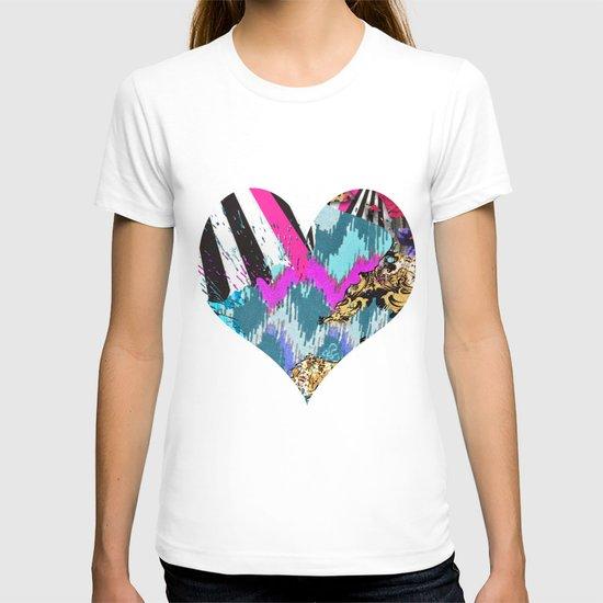 Fashion | Chic aztec pink teal zebra stripes leopard pattern T-shirt