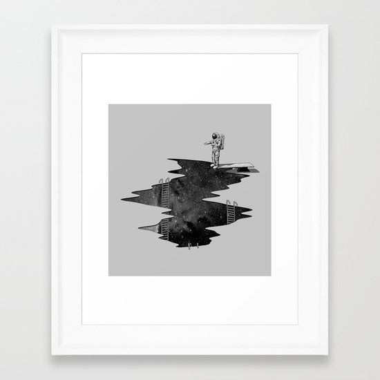 Space Diving Framed Art Print
