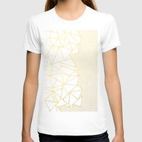 Ab Outline Grid Black and Gold Womens Fitted Tee White SMALL