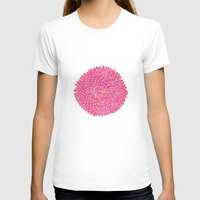 Pink Chrysanthemum  Womens Fitted Tee White SMALL