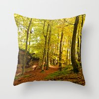 Rocky forest in the fall Throw Pillow