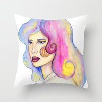 Locks Of Color Throw Pillow