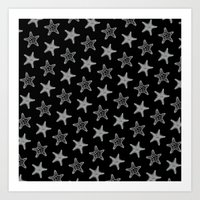 Starfish White on Black Art Print