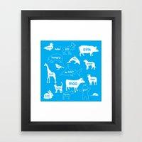 Animal Noises in Blue Framed Art Print