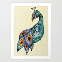 peacock Art Prints featuring Peacock by SilviaGancheva