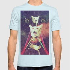 galactic Cats Saga 4 Mens Fitted Tee Light Blue SMALL