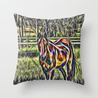 Horse In Paddock Throw Pillow