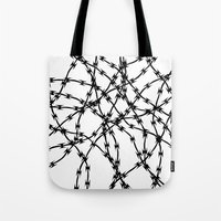 Trapped Black On White Tote Bag