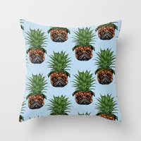 Pineapple Pug  Throw Pillow