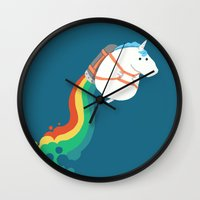 Fat Unicorn on Rainbow Jetpack Wall Clock