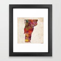 vermont map painting Framed Art Print