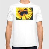 Butterfly On Yellow Mens Fitted Tee White SMALL