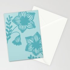 Floral silhouette blue  Stationery Cards