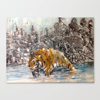 Tiger and City Canvas Print