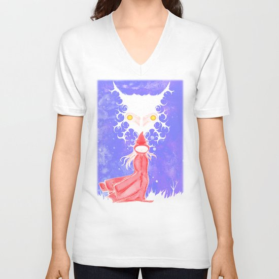 Little Red Riding Hood Watercolor/Pen&ink/Acrylic V-neck T-shirt