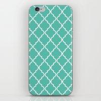 Quatrefoil - Teal iPhone & iPod Skin