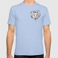 Heart Mens Fitted Tee Tri-Blue SMALL