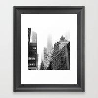 NYC In Fog Framed Art Print