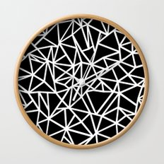 Abstract Outline Thick White on Black Wall Clock