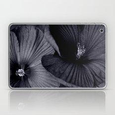 Elegant Pair of Hibiscus Flowers in Deepest Aubergine Monotone Monochrome Laptop & iPad Skin