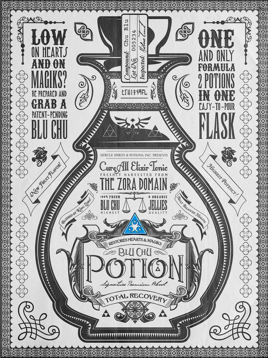 Legend of Zelda Blue Chu Potion Advertisement Art Print