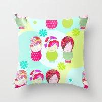 Dolls Pattern Throw Pillow