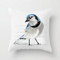 Blue Jay (Cyanocitta cristata) Throw Pillow