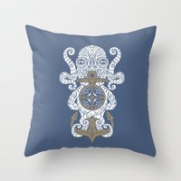 Octopus Anchor And Compa… Throw Pillow