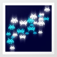 Space Invaders Bokeh Art Print