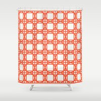 DG GEOMETRIC – TROPICAL RED Shower Curtain
