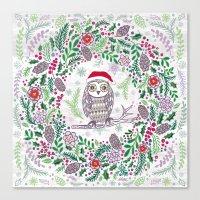 Owl Wreath Canvas Print