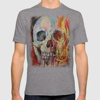 Skull Fire Mens Fitted Tee Tri-Grey SMALL