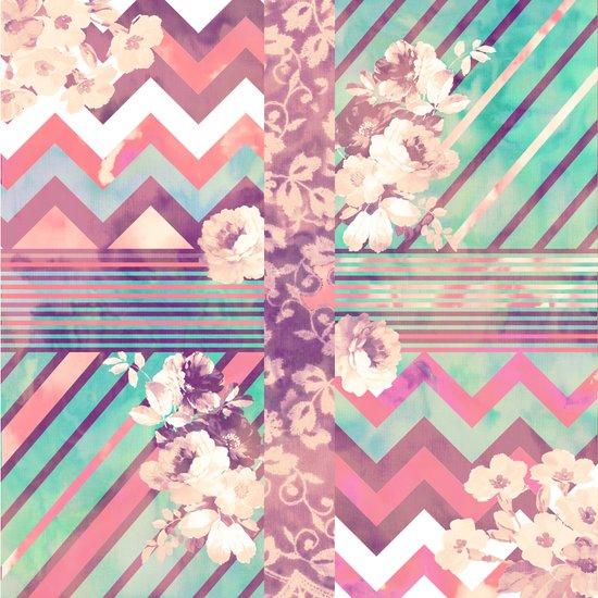 Retro Pink Turquoise Floral Stripe Chevron Pattern Art Print