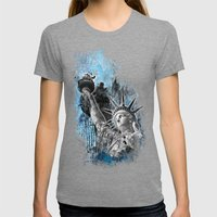 Lady Liberty Womens Fitted Tee Tri-Grey SMALL