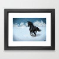 black unicorn Framed Art Print