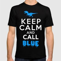 Keep Calm and Call Blue   Jurassic Raptor Dinosaur Mens Fitted Tee Black SMALL