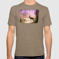 Deer In A Foggy Forest Mens Fitted Tee Tri-Coffee SMALL