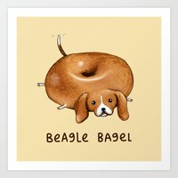 Beagle Bagel Art Print