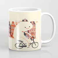 Happy Ghost Biking Through Amsterdam Mug