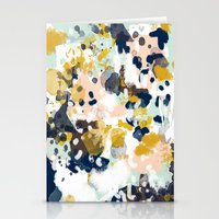 california Stationery Cards featuring Sloane - Abstract painting in modern fresh colors navy, mint, blush, cream, white, and gold by CharlotteWinter