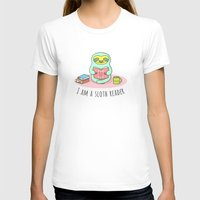Reading Sloth Womens Fitted Tee White SMALL