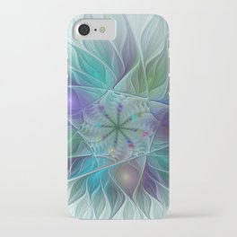 Clear iPhone Case - Colorful Fantasy Flower Fractal Art Abstract - gabiw Art