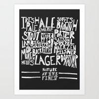 Beer : Black Art Print