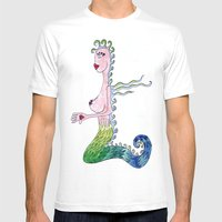 THE MERMAID Mens Fitted Tee White SMALL