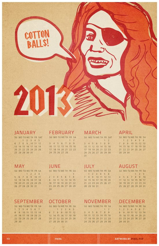 Cotton Balls 2013 Calendar  Art Print