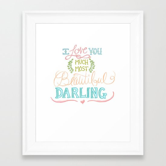 Hand Lettered I LOVE YOU Print Framed Art Print