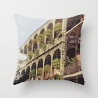 New Orleans Royal Street Balconies Throw Pillow