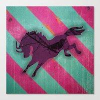 Jagdgewehr mit die Pferden. Canvas Print