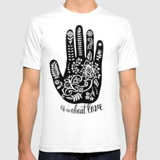 Life and Love White Mens Fitted Tee SMALL